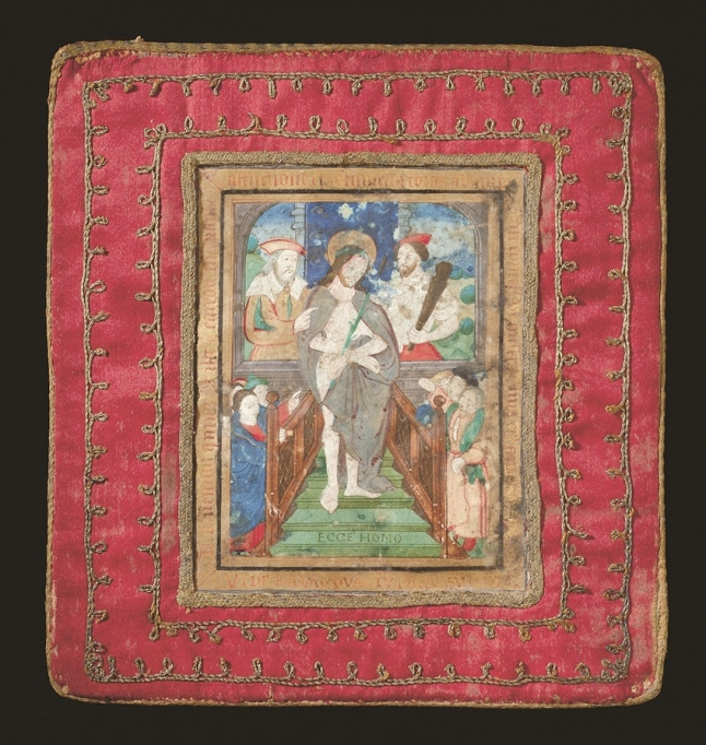 Chalice veil in red silk with Ecce Homo